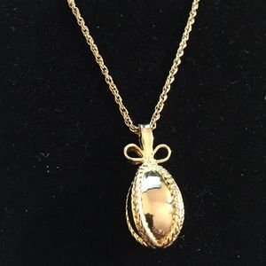 JOAN RIVERS GOLD TONE FABERGE EGG PENDANT & CHAIN, used for sale